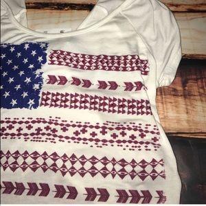 Charlotte Russe Tops - American Flag Tribal Criss Cross Crop Top